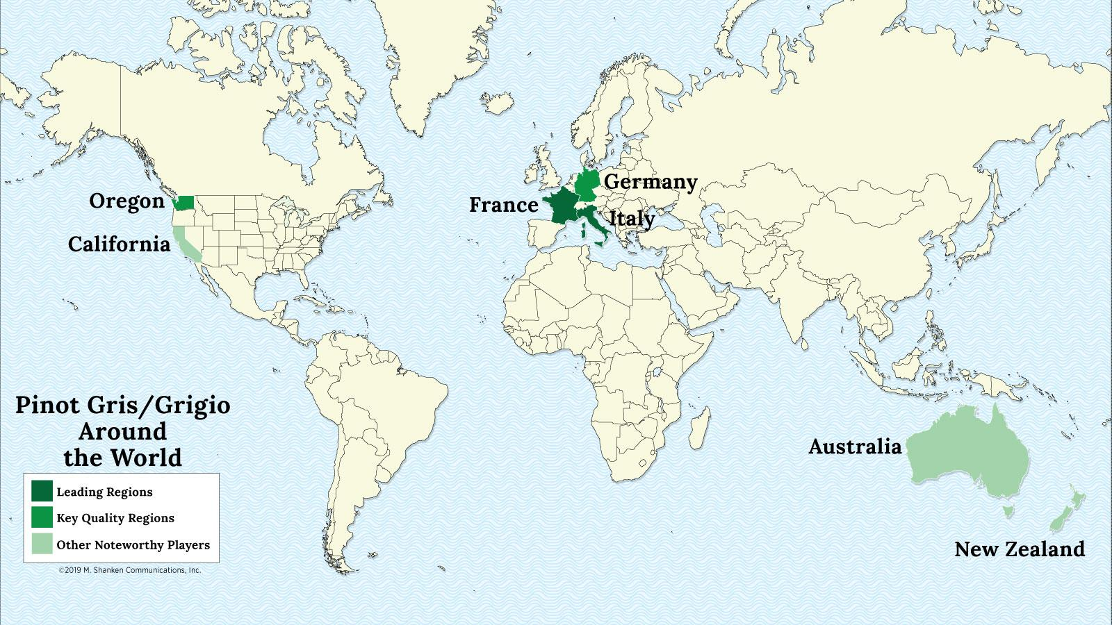 A map of the world with France, Italy, Germany, Oregon, California and Australia highlighted